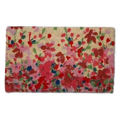 Petals Multicolor 18 in. x 30 in. Coir Door Mat