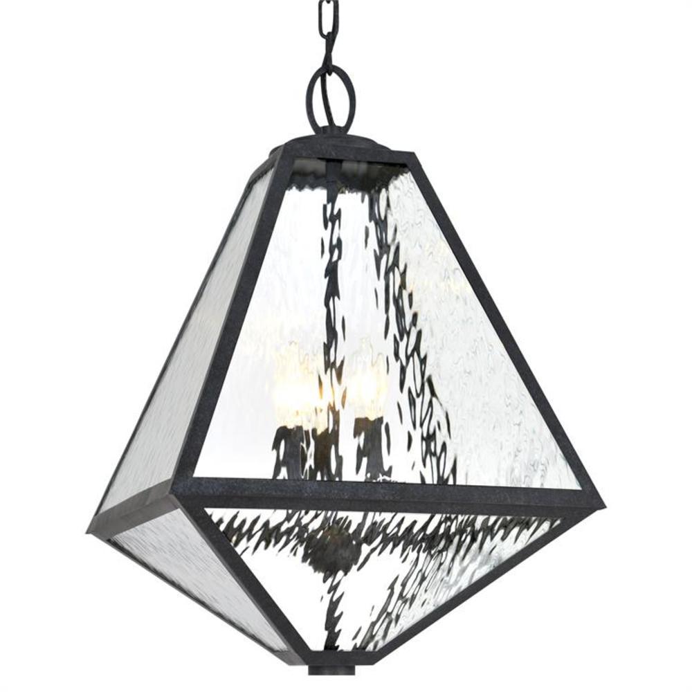 Glacier 3-Light Black Charcoal Lantern Outdoor Chandelier
