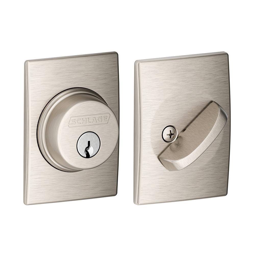Schlage Century Satin Nickel Single Cylinder Deadbolt B60