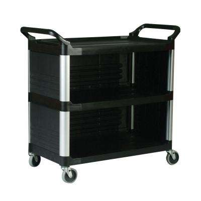 Xtra Utility Cart with Enclosed End Panels and Side in Black