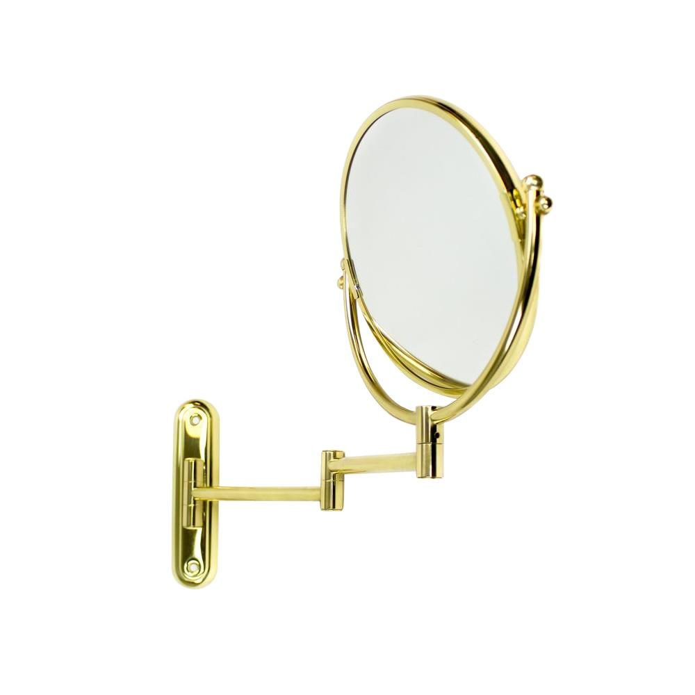Taymor Solid Brass 7 in. x 12 in. Swing Arm Rotating Makeup Mirror in Polished Brass