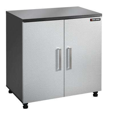 2-Shelf Laminate Base Cabinet with Thick Work Surface in Charcoal Stipple
