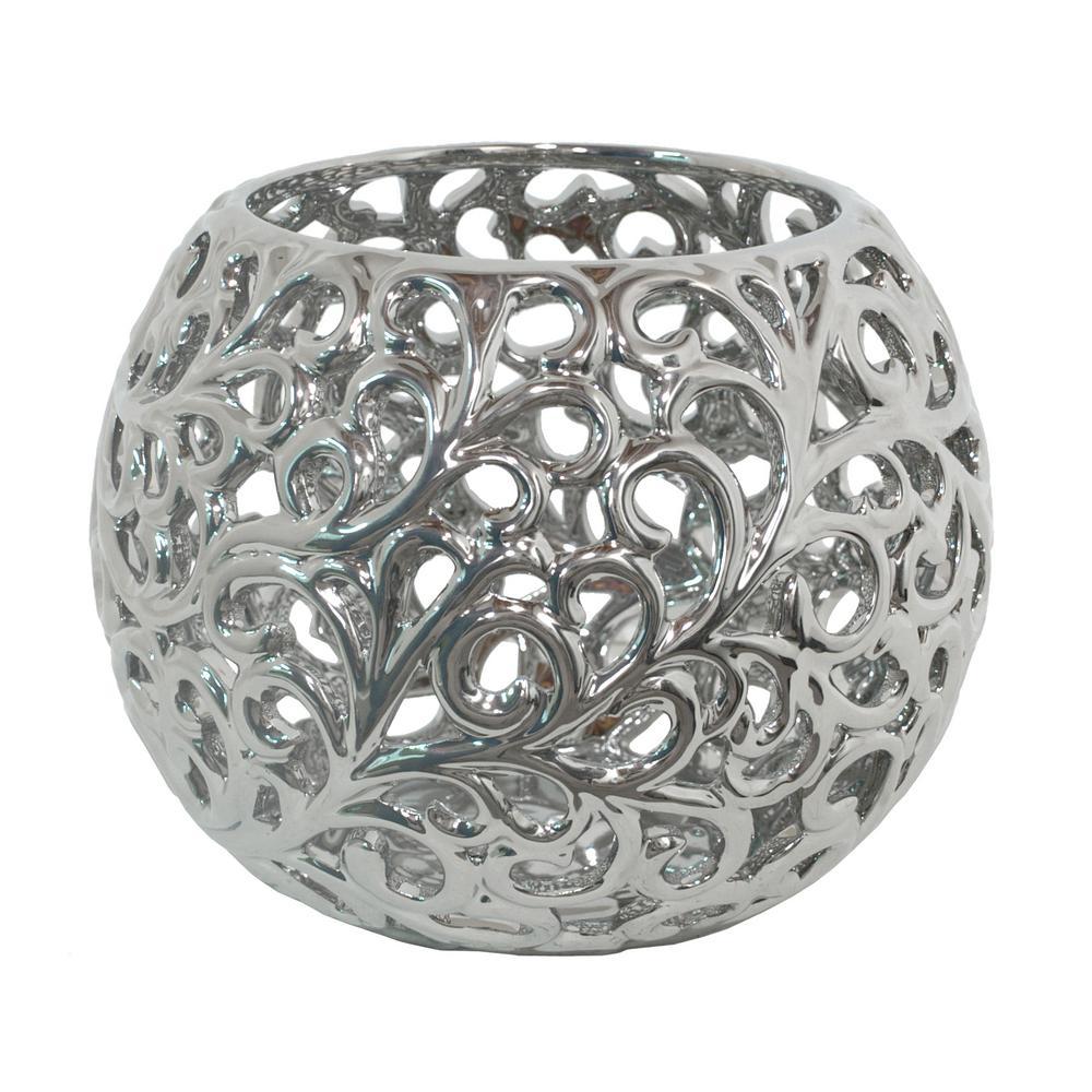 Modern Silver Ceramic Decorative Vase