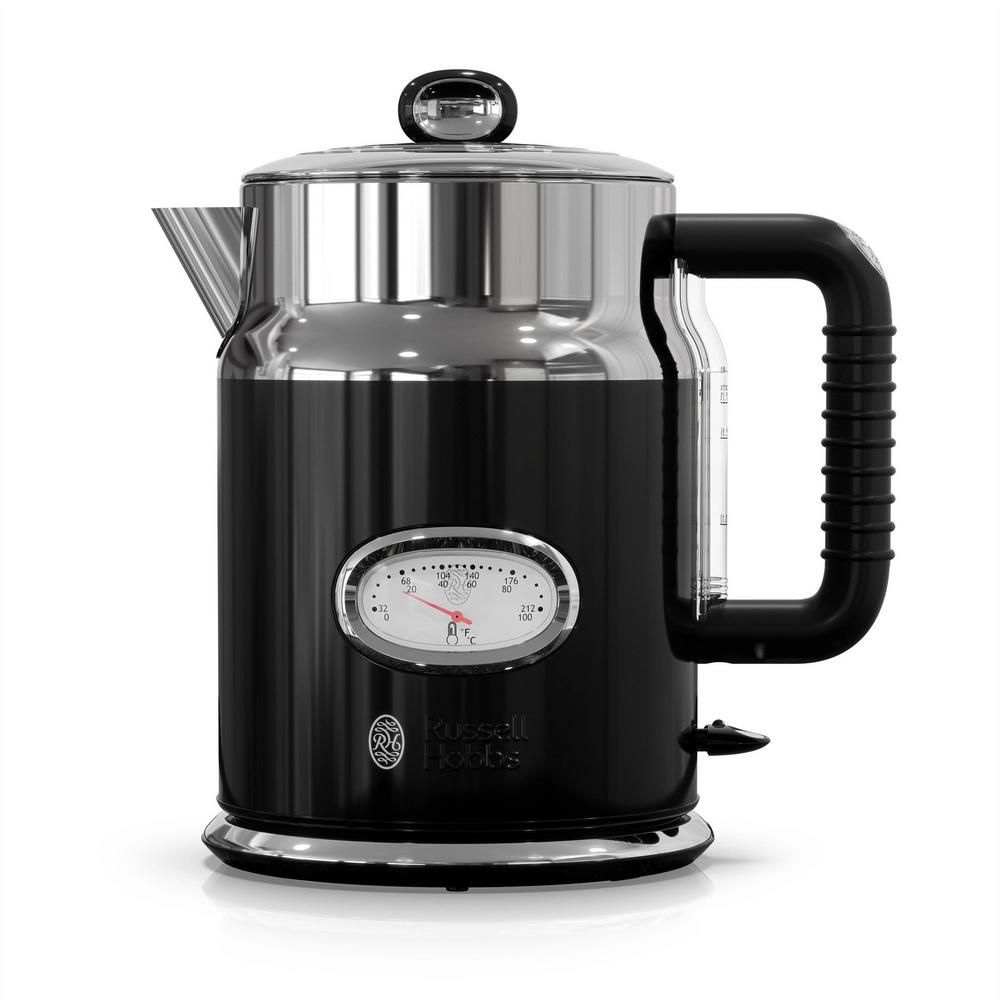 Retro 5-Cup Black Stainless Steel Electric Kettle with Filter Retro 5-Cup Black Stainless Steel Electric Kettle with Filter