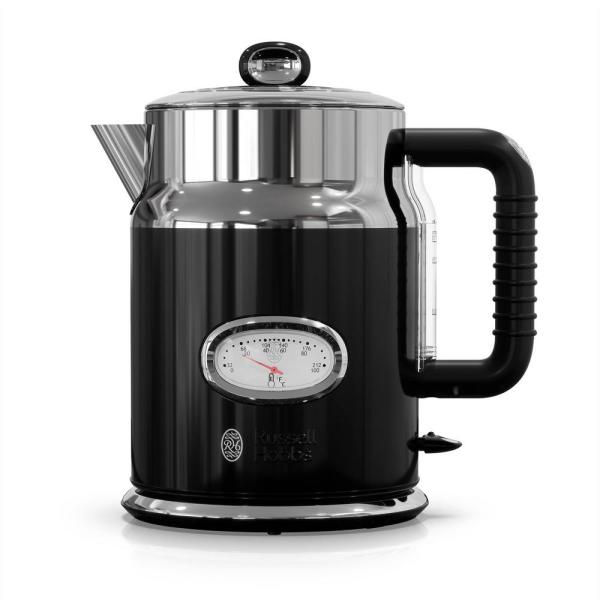 Russell Hobbs Retro 5-Cup Black Stainless Steel Electric Kettle with Filter