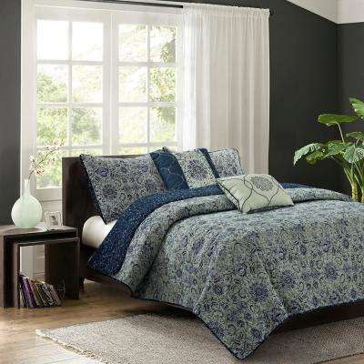Bridget 5-Piece Sage Full/Queen Quilt Set