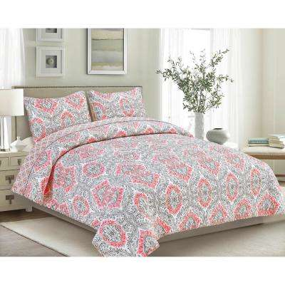 Tiffany 3-Piece Coral Full/Queen Quilt Set