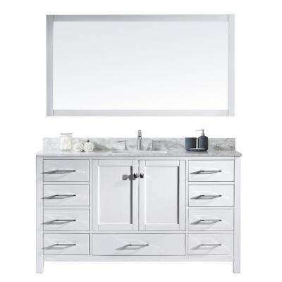 Caroline Avenue 60 in. W Bath Vanity in White with Marble Vanity Top in White with Square Basin and Mirror
