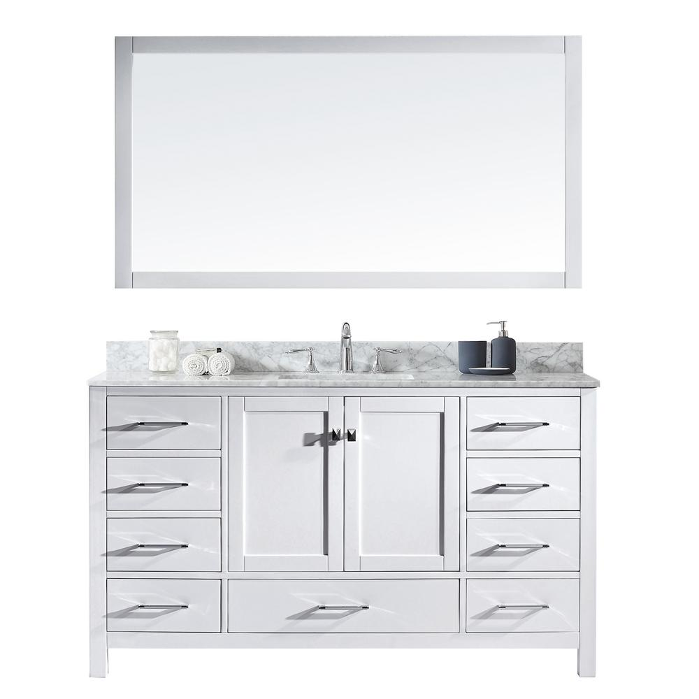 Caroline Avenue 60 In W Bath Vanity White With Marble Top