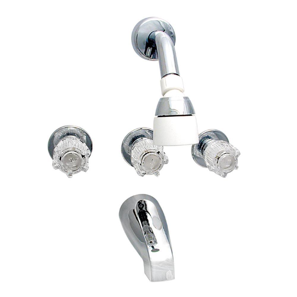 Three Handle Shower Faucet.Valterra Brass Three Handle 8 Tub Shower Faucet With Shower Head Kit Chrome
