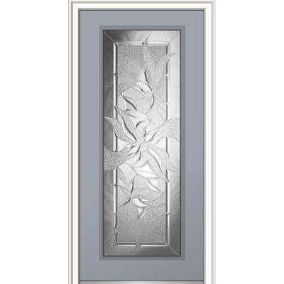 36 in. x 80 in. Impressions Right Hand Inswing Full Lite Decorative Glass Painted Fiberglass Smooth Prehung Front Door