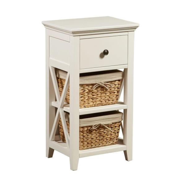 Basket Bathroom Storage Wood Cabinet