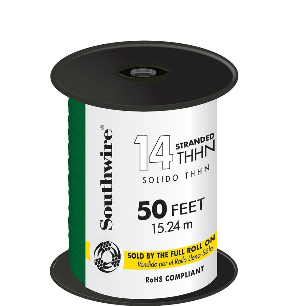 Southwire 50 ft. 14 Green Stranded CU THHN Wire