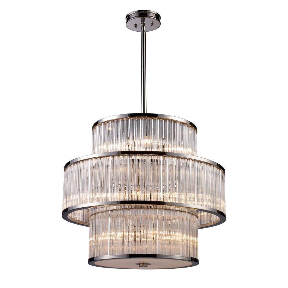 Braxton 15-Light Polished Nickel Ceiling Pendant