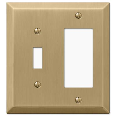 Metallic 2 Gang 1-Toggle and 1-Rocker Steel Wall Plate - Brushed Bronze