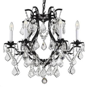 Versailles 6-Light Wrought Iron and Crystal Chandelier by