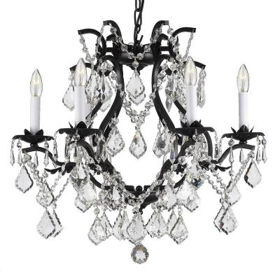 Versailles 6-Light Wrought Iron and Crystal Chandelier