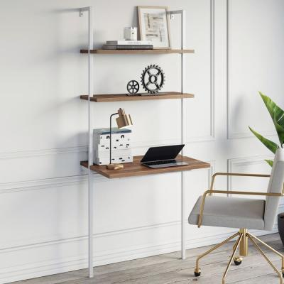 Theo Rustic Oak and White 2-Shelf Wall-Mount Ladder Writing Desk Table Small Computer Table Bookcase