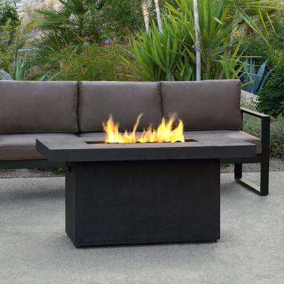 Ventura 50 in. x 24 in. Rectangle Fiber-Concrete Propane Fire Pit in Kodiak Brown with Natural Gas Conversion Kit