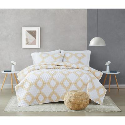Merill 2-Piece White and Gold Twin XL Cotton Quilt Set
