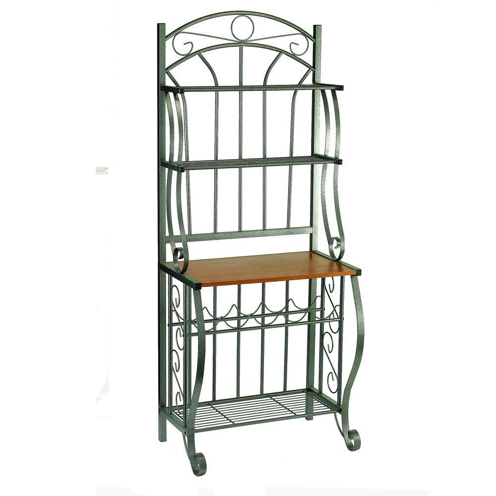 Old Dutch 68 in. x 16 in. x 27.25 in. Pewter Bakers Rack with Wine Rack