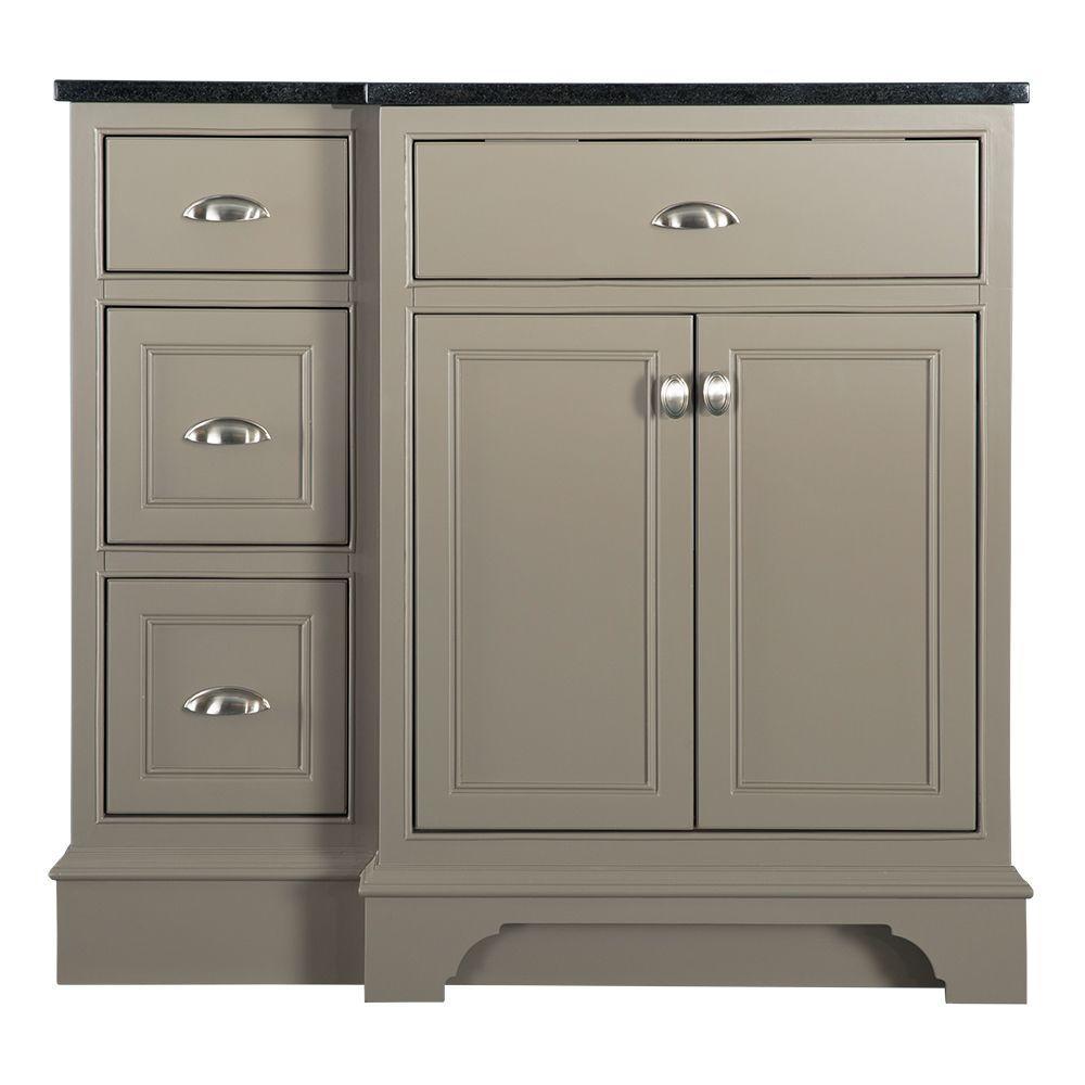 Home Decorators Collection Hayward 37 in. W x 22 in. D Bath Vanity in Warm Grey with Granite Vanity Top in Black