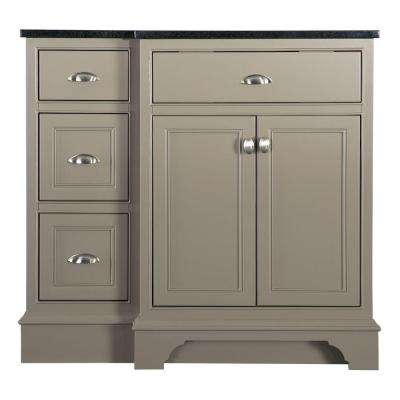 Hayward 37 in. W x 22 in. D Bath Vanity in Warm Grey with Granite Vanity Top in Black