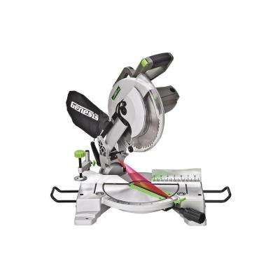 15 Amp 10 in. Compound Miter Saw with Laser Guide, 9 Positive Stops, Clamp, Dust Bag, 2 Wings and Blade