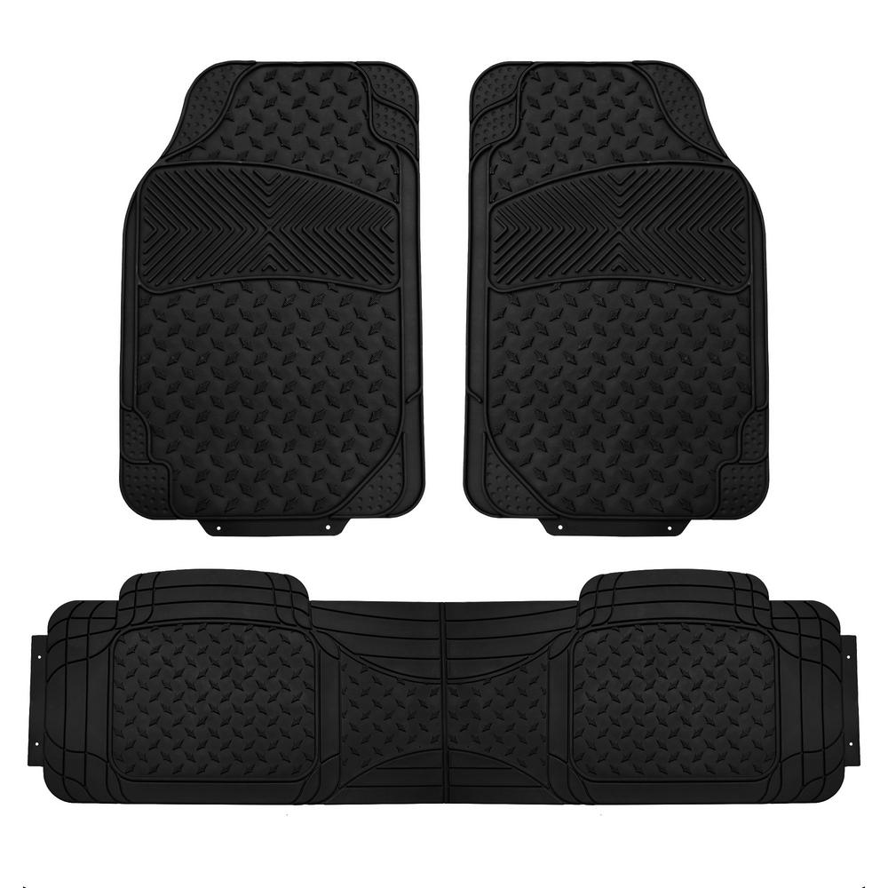 FH Group Black Heavy Duty 3-Piece 29 in  x 18 in  Vinyl Trim to Fit Car  Floor Mats