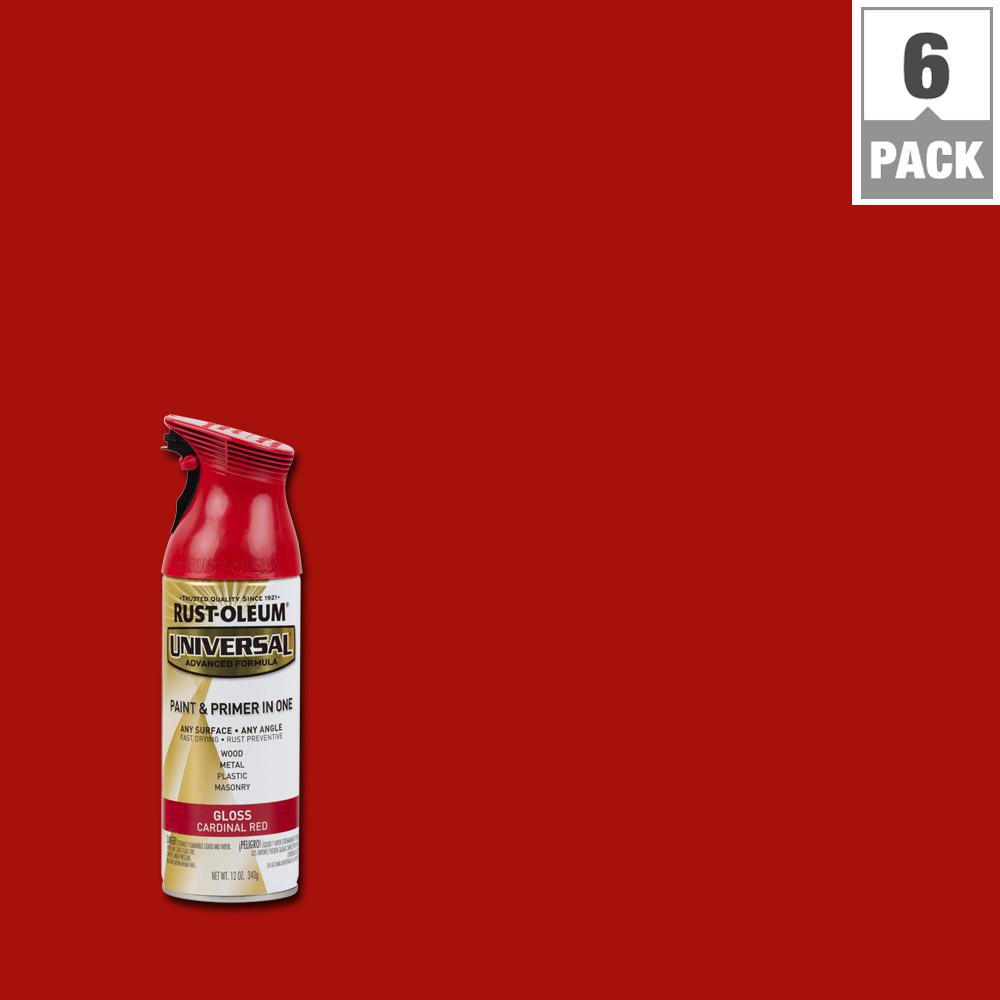 All Surface Gloss Cardinal Red Spray Paint And Primer In One 6 Pack