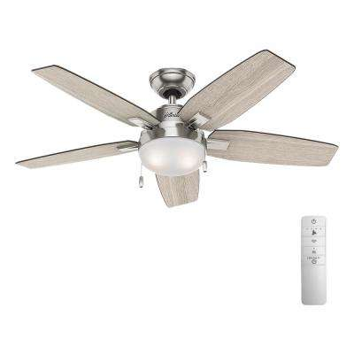 Antero 46 in  LED Indoor Brushed Nickel Smart Ceiling Fan with Light and  WINK Remote Control