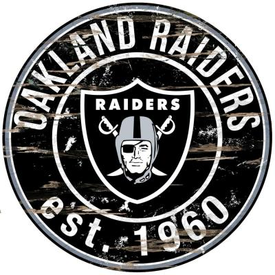 "24"" NFL Oakland Raiders Round Distressed Sign"