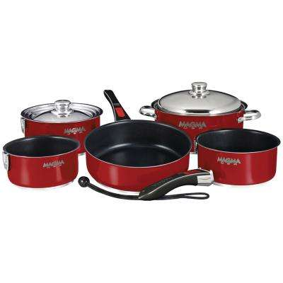 Ceramica Non-Stick 10-Piece Induction Compatible Nesting Cookware Set in Magma Red Finish