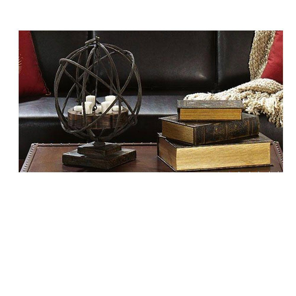 Home Decorators Collection Old World 6.5 in. W x 9.5 in. H Black/Gold Faux Leather Book Box Collection (Set of 3)