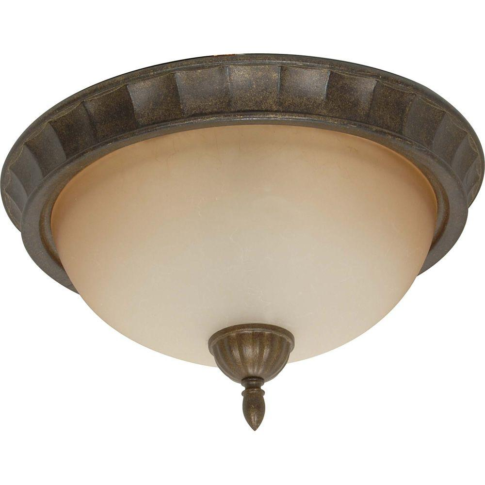 Glomar Cortina - 2-Light 14 in. Flush Mount with Amber Veil Glass Dune Gold-DISCONTINUED