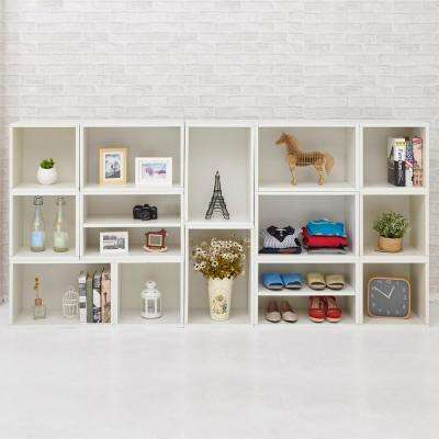 Blox System Rome Eco zBoard Tool Free Assembly White Stackable Modular Open Bookcase