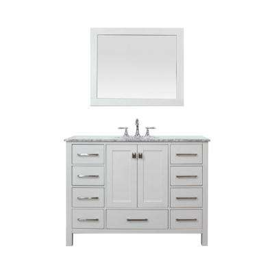 Gela 48 in. W x 22 in. D Bath Vanity in White with Marble Vanity Top in White with White Basin, Faucet and Mirror
