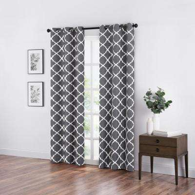 Fret Smoke Blackout Window Curtain - 42 in. W x 84 in. L