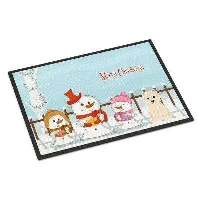 18 in. x 27 in. Indoor/Outdoor Merry Christmas Carolers Westie Door Mat