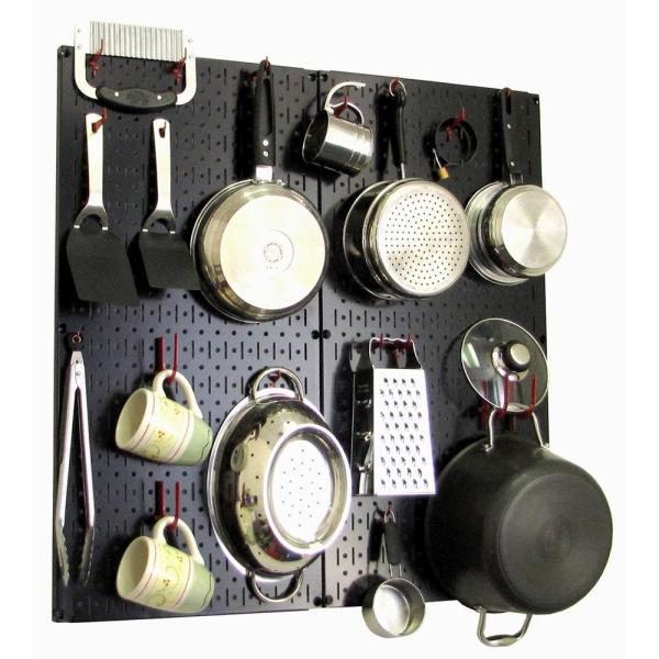 Kitchen Pegboard 32 in. x 32 in. Metal Peg Board Pantry Organizer Kitchen Pot Rack with Black Pegboard and Red Peg Hooks