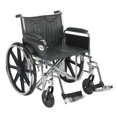 Sentra EC Heavy Duty Wheelchair with Full Arms, Swing Away Footrest and 22 in. Seat