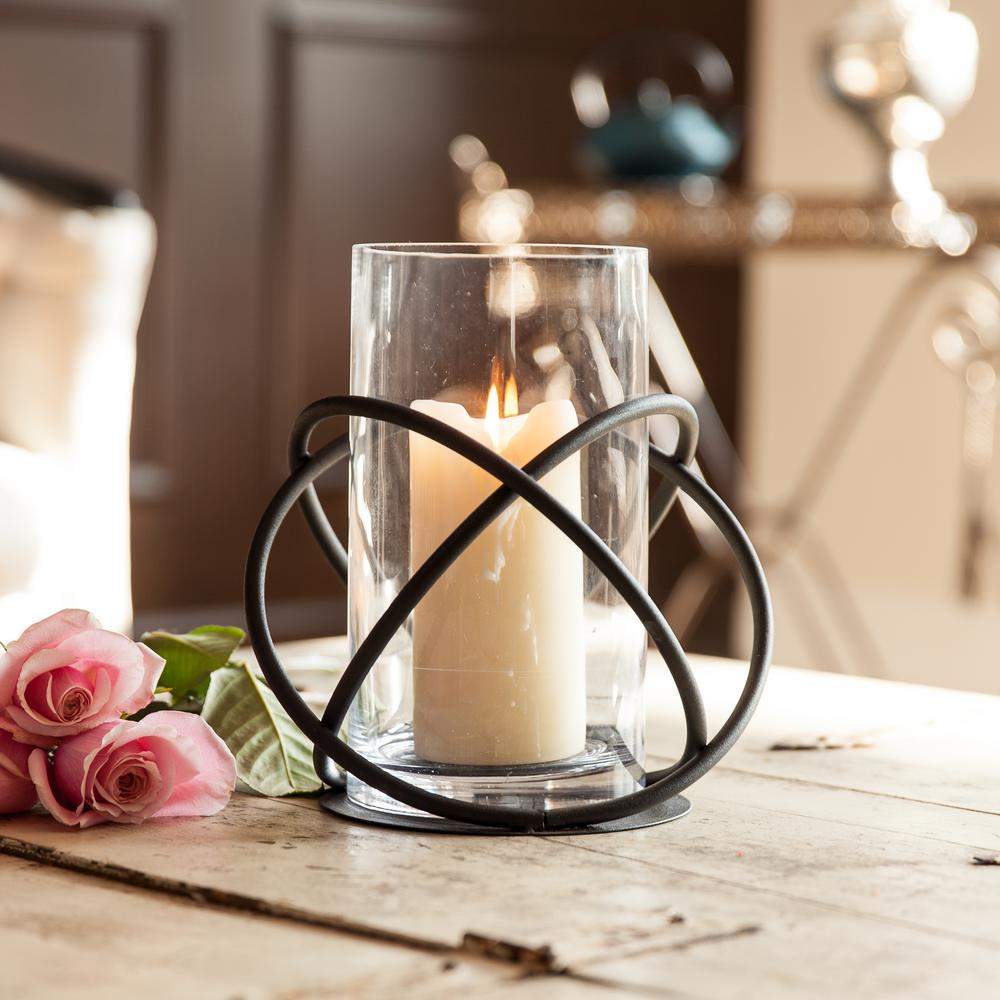 Orbits Black Metal and Clear Glass Hurricane Candleholder