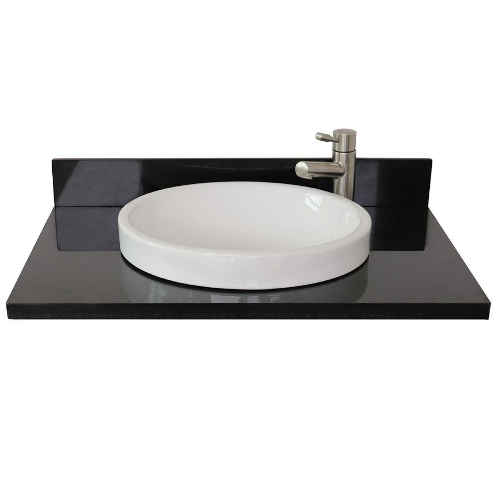 Ragusa III 31 in. W x 22 in. D Granite Single Basin Vanity Top in Black with White Round Basin