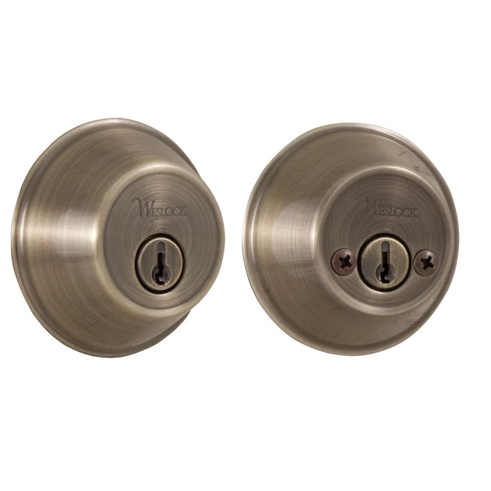 Weslock Essentials Double Cylinder Antique Brass Deadbolt 00372 A Asl23 The Home Depot