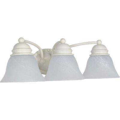 3-Light Textured White Vanity Light with Alabaster Glass Bell Shades