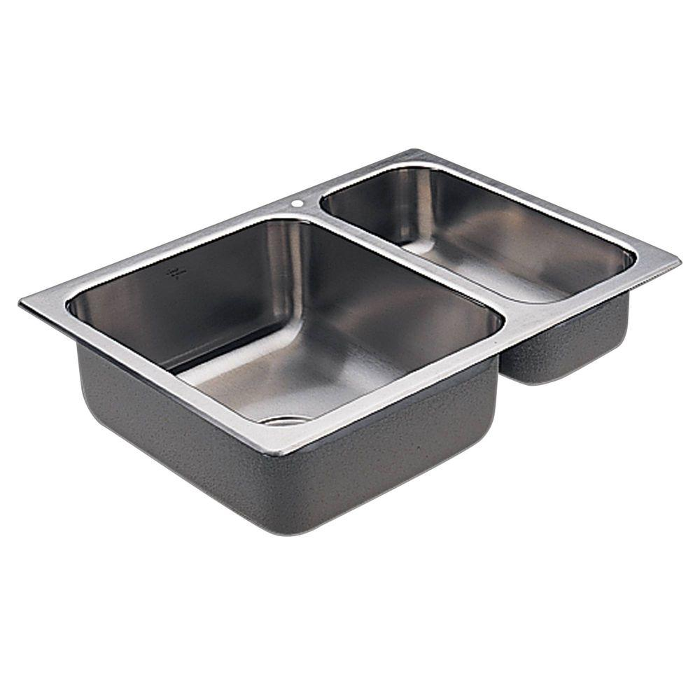 moen stainless steel kitchen sinks moen 2000 series drop in stainless steel 25 5 in 1 9286