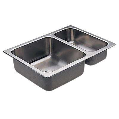 2000 Series Drop-in Stainless Steel 25.5 in. 1-Hole Double Bowl Kitchen Sink