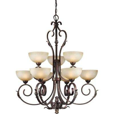 9-Light Black Cherry Bronze Chandelier with Umber Mist Glass