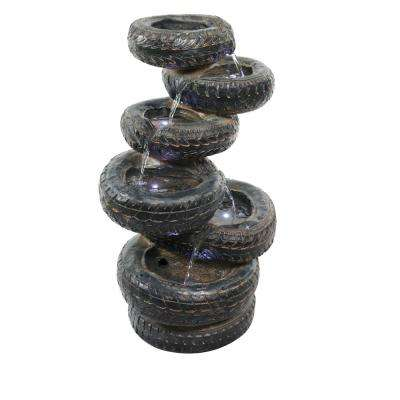 Alpine 31 in. Tall 7 Tire Cascading Fountain with LED Lights