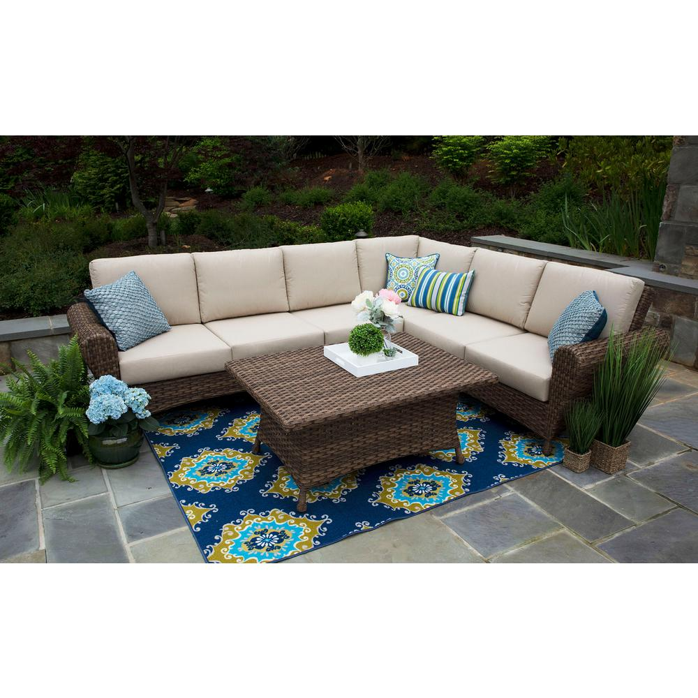Aspen 5-Piece Resin Wicker Outdoor Sectional with Sunbrella Spectrum Sand